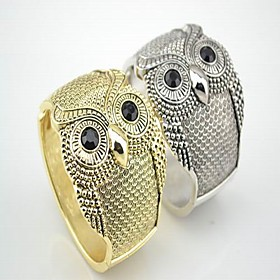 Women's Owl Wide Bangle Bracelet