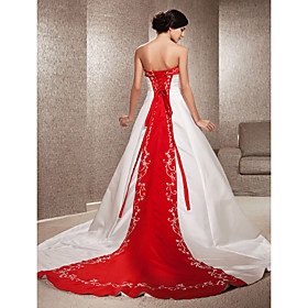 A-Line Princess Strapless Cathedral Train Satin Custom Wedding Dresses with Appliques Embroidery by LAN TING BRIDE plus size,  plus size fashion plus size appare