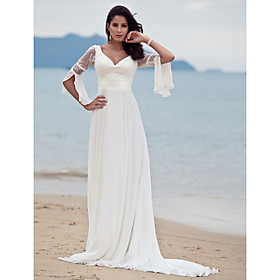 A-Line V-neck Court Train Chiffon Wedding Dress with Lace by LAN TING BRIDE plus size,  plus size fashion plus size appare
