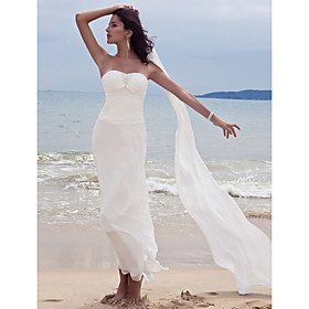 LAN TING BRIDE Sheath / Column Wedding Dress - Chic Modern Wedding Dress with Wrap Ankle-length Sweetheart Chiffon with Beading Ruche plus size,  plus size fashion plus size appare
