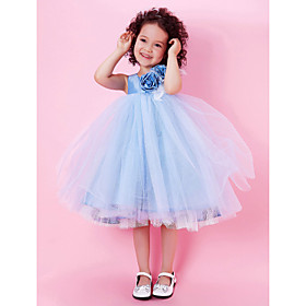 A-line Square Tea-length Satin Organza Flower Girl Dress