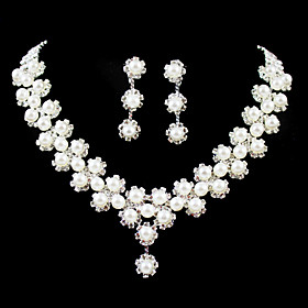Gorgeous Rhinestone/Imitation Pearl Bridal Jewelry Set - 17 Inch Necklace With Earrings
