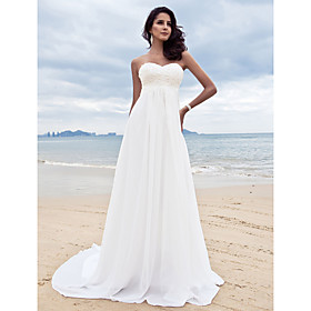 Wedding Dress Sheath Column Court Train Chiffon Sweetheart Strapless With Beading