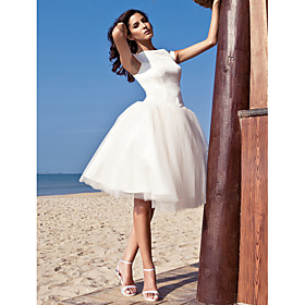 Ball Gown Bateau Neck Knee Length Satin Tulle Custom Wedding Dresses with Draping by LAN TING BRIDE plus size,  plus size fashion plus size appare