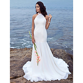 Mermaid / Trumpet Halter Sweep / Brush Train Chiffon Wedding Dress with Beading by LAN TING BRIDE plus size,  plus size fashion plus size appare
