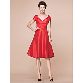 A-Line V-neck Knee Length Taffeta Mother of the Bride Dress with Ruching Criss Cross by LAN TING BRIDE plus size,  plus size fashion plus size appare
