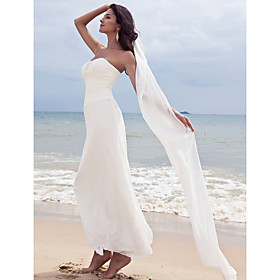 Sheath / Column Sweetheart Ankle Length Chiffon Custom Wedding Dresses with Beading Ruched by LAN TING BRIDE plus size,  plus size fashion plus size appare