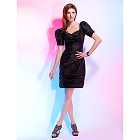 TS Couture Cocktail Party Dress - Little Black Dress Plus Size / Petite Sheath / Column V-neck Knee-length Taffeta with Ruching plus size,  plus size fashion plus size appare