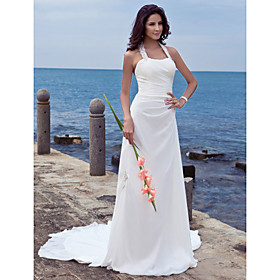 Sheath / Column Halter Court Train Chiffon Wedding Dress with Appliques by LAN TING BRIDE plus size,  plus size fashion plus size appare