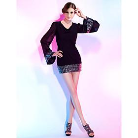 TS Couture Cocktail Party Dress - Little Black Dress Plus Size / Petite Sheath / Column V-neck Short / Mini Chiffon / Sequined with Sequins plus size,  plus size fashion plus size appare