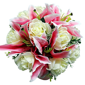 "Wedding Flowers Round Roses Bouquets Wedding Satin Pink 11.02""(Approx.28cm)"