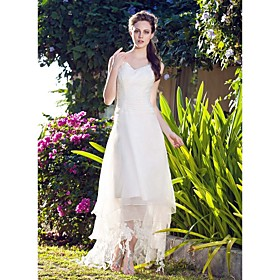 A-Line V-neck Asymmetrical Organza Wedding Dress with Lace by LAN TING BRIDE plus size,  plus size fashion plus size appare