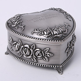 Personalized Vintage Tutania Floral Theme Heart Design Jewelry Box plus size,  plus size fashion plus size appare