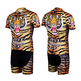 100% Polyester and Quick Dry Mens Cycling Short Suits (Tiger Stripes)