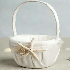 Beach Themed Starfish Design Ivory Satin Flower Girl Basket
