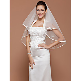 One-tier Tulle Elbow Wedding Veil With Ribbon Edge (More Colors Available)