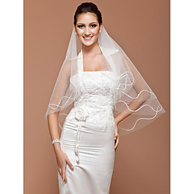 One-tier Fingertip Wedding Veil With Cut Edge (More Colors Available)