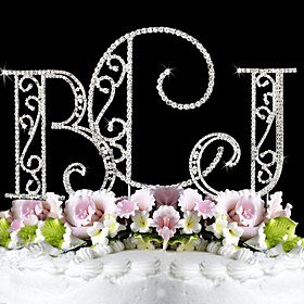 Cake Topper Monogram / Classic Couple Birthday / Wedding / Bridal Shower / Quinceañera  Sweet Sixteen / Anniversary Rhinestone Silver