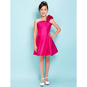 A-Line Princess One Shoulder Knee Length Taffeta Junior Bridesmaid Dress with Flower(s) Criss Cross by LAN TING BRIDE