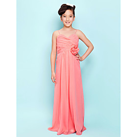 Lanting Bride Floor-length Chiffon Junior Bridesmaid Dress Sheath / Column Sweetheart / Spaghetti Straps Empire withDraping / Flower(s)