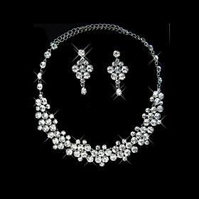 Glitrende Silver Rhinestone Dot Bridal Jewelry Set Inkludert ?redobber, halskjede