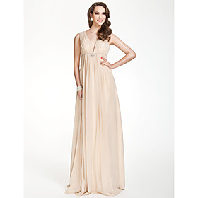 A-Line V-neck Floor Length Chiffon Bridesmaid Dress with Beading Draping Crystal Brooch Pleats by LAN TING BRIDE