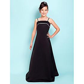 A-Line Princess Spaghetti Straps Floor Length Satin Junior Bridesmaid Dress with Pleats by LAN TING BRIDE
