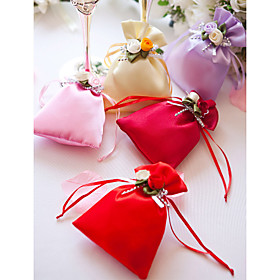 Satin Favor Bag With Flowers And Ribbons - Set of 12 (More Colors)