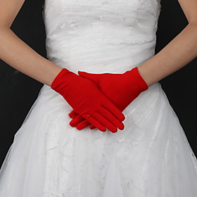 Wrist Length Fingertips Glove Silk Bridal Gloves Spring Summer Fall