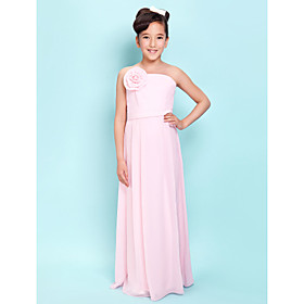 Lanting Bride Floor-length Chiffon Junior Bridesmaid Dress Sheath / Column Strapless Natural withFlower(s) / Sash / Ribbon / Side