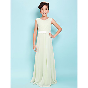 Sheath / Column V-neck Floor Length Chiffon Junior Bridesmaid Dress with Sash / Ribbon Side Draping by LAN TING BRIDE