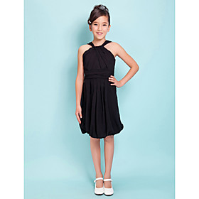 Sheath / Column Straps Knee Length Chiffon Junior Bridesmaid Dress with Draping Sash / Ribbon Criss Cross by LAN TING BRIDE