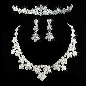 Women's Rhinestone Wedding Party Anniversary Birthday Engagement Gift Alloy Earrings Necklaces Tiaras