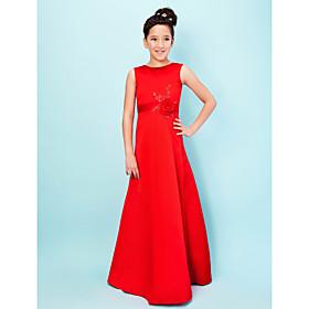 LAN TING BRIDE Floor-length Satin Junior Bridesmaid Dress A-line Princess Jewel Natural with Beading Appliques Flower(s) Sash / Ribbon