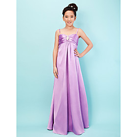 LAN TING BRIDE Floor-length Stretch Satin Junior Bridesmaid Dress A-line Princess Sweetheart Spaghetti Straps Empire withCrystal