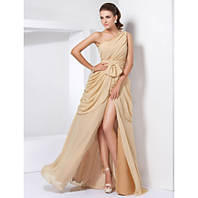 A-Line Princess One Shoulder Floor Length Chiffon Evening Dress with Lace by TS Couture