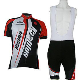 Kooplus Men's Short Sleeves Cycling Jersey with Bib Shorts - Red/White Bike Clothing Suits, Quick Dry, Breathable 351949