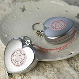 "Love Beyond Measure"" Heart Shaped Measuring Tape Keychain in Sheer Organza Bag"