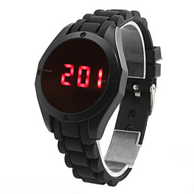 Stylish Unisex Touch Screen Silicone Digital LED Wrist Watch (Black)