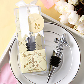 Elegant Fleur de Lis Chrome Bottle Stopper