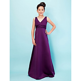 A-Line Princess V-neck Floor Length Satin Junior Bridesmaid Dress with Sash / Ribbon Ruching by LAN TING BRIDE