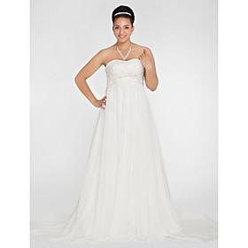 A-line Sweetheart Court Train Chiffon Plus Size Wedding Dress
