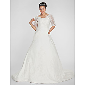 A-Line V-neck Chapel Train Taffeta Plus Size Wedding Dress by LAN TING BRIDE plus size,  plus size fashion plus size appare