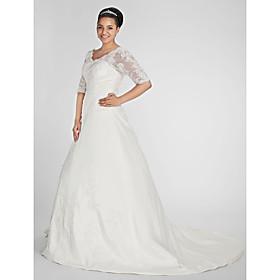 A-Line V Neck Chapel Train Taffeta Custom Wedding Dresses with Beading Appliques Side-Draped by LAN TING BRIDE plus size,  plus size fashion plus size appare