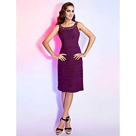 TS Couture Cocktail Dress - Short Plus Size / Petite Sheath / Column Scoop Knee-length Chiffon with Beading / Draping / Ruching plus size,  plus size fashion plus size appare