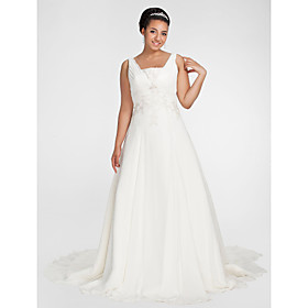 A-Line Square Neck Chapel Train Chiffon Wedding Dress with Beading Appliques Draped Side-Draped by LAN TING BRIDE plus size,  plus size fashion plus size appare