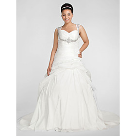 Ball Gown Sweetheart Chapel Train Taffeta Plus Size Wedding Dress