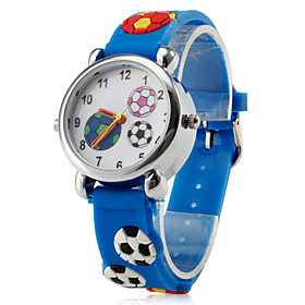 Children's Football Style Silicone LED Analog Quartz Wrist Watch (Blue)