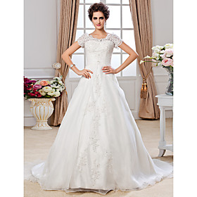 A-Line Jewel Neck Chapel Train Organza Wedding Dress with Beading Appliques Ruche by LAN TING BRIDE plus size,  plus size fashion plus size appare