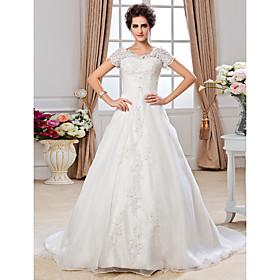 A-Line Jewel Neck Chapel Train Organza Wedding Dress with Beading Appliques Ruche by LAN TING BRIDE plus size,  plus size fashion plus size appare